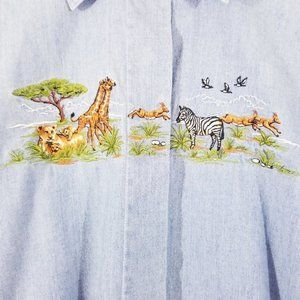 Foxcroft Wild Animal Print Button Down Shirt